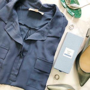 Blue Gray Slate Mixed Media Pocket Sleeveless Top